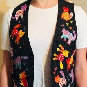 Other - Handmade Vintage Colorful Cat Vest Sz M